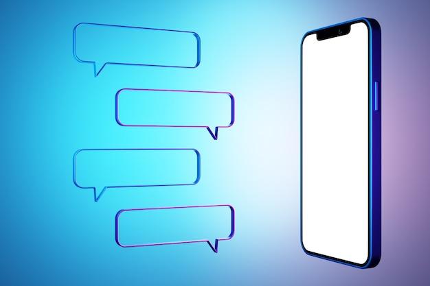 Illustrazione 3d mock up di uno smartphone moderno in uno schermo bianco e fumetti su sfondo blu isolato. illustrazione di dialogo, chat.