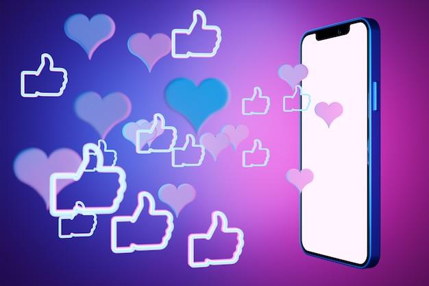 Illustrazione 3d mock up di uno smartphone moderno in una schermata bianca con i pugni con i pollici in su su uno sfondo viola isolato. illustrazione di dialogo, chat.