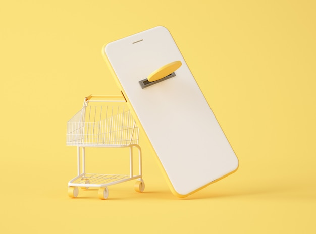 Illustrazione 3d. mockup di smartphone e carrello.