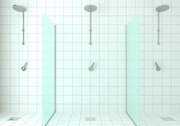 Illustrazione 3d. doccia moderna in vetro. finitura piastrelle di ceramica.