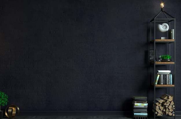 Illustrazione 3d. interni moderni in stile loft sfondo vecchio muro di mattoni. mobili e scaffali. libreria. studio per la creatività