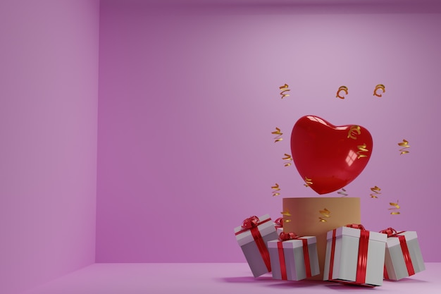 Illustrazione 3d della festa della mamma e dei cuori e dei regali di san valentino