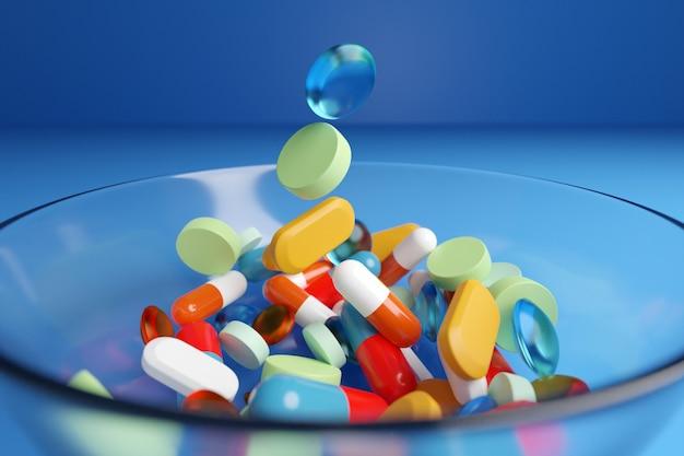 Illustrazione 3d di pillole multicolori e di forma diversa