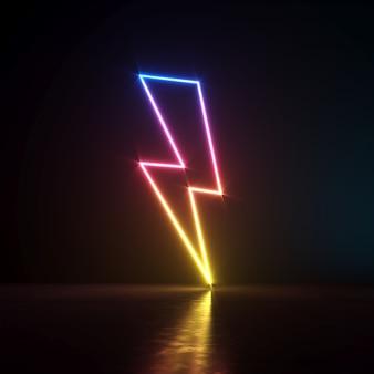 Illustrazione 3d. simbolo del segno di fulmini al neon in una stanza buia.