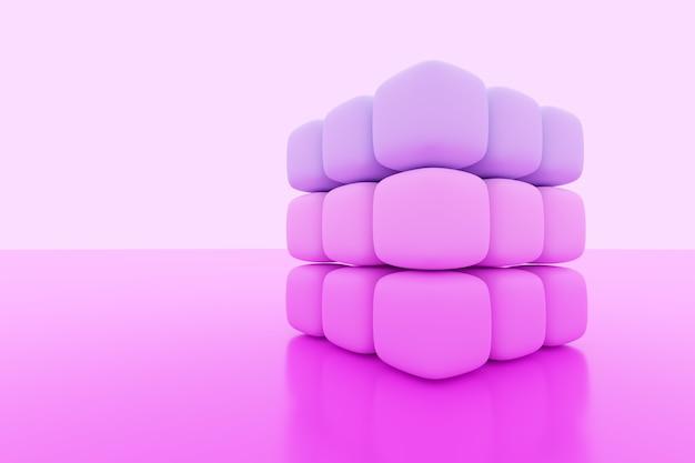 Illustrazione 3d di un cubo bianco al neon di piccoli cubi rosa su sfondo isolato. ð¡yber cubo nella realtà virtuale. futuristico concetto geometrico