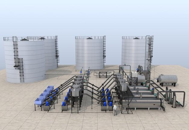 Illustrazione 3d della raffineria di petrolio