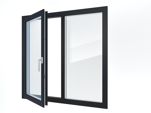 Illustrazione 3d. le finestre di plastica moderne nere aperte.