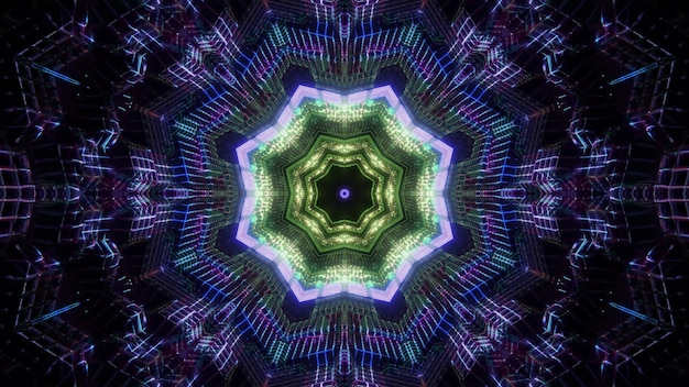 Sfondo visivo di illusione ottica di illustrazione 3d del tunnel ottagonale colorato magico astratto con raggi lucenti nell'oscurità