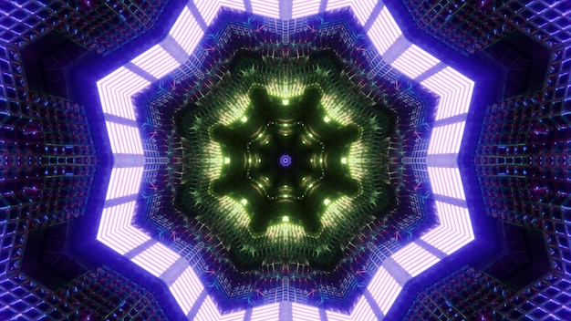 Sfondo visivo di illusione ottica di illustrazione 3d del tunnel di fantascienza astratta con cornici ottagonali e illuminazione colorata brillante