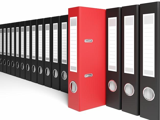 Illustrazione 3d archivio organizzato con raccoglitori ad anelli in fila uno è un archivio rosso