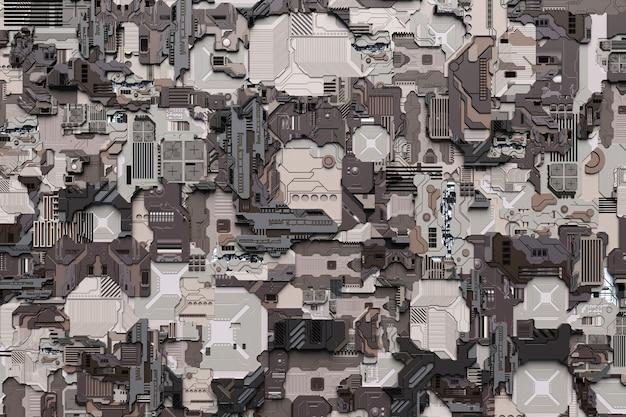 Illustrazione 3d di un modello sotto forma di metallo, placcatura tecnologica di un'astronave o di un robot. grafica astratta nello stile dei giochi per computer. primo piano dell'armatura cyber grigia su luci al neon
