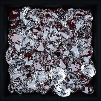 Illustrazione 3d di un modello di molti diamanti trasparenti su uno sfondo monogromo. diamante a taglio grande