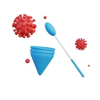 Illustrazione 3d del virus corona test pcr con sfondo bianco