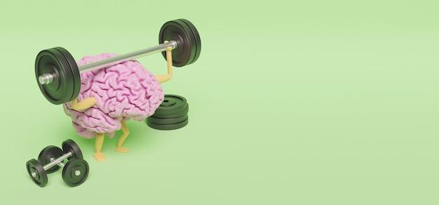 Illustrazione 3d del cervello rosa con gambe e braccia che esercitano con manubri sulla superficie verde