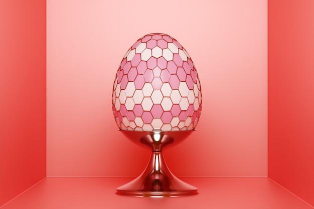 Illustrazione 3d di un uovo di gallina rosa con una forma a rete in una stanza rossa.