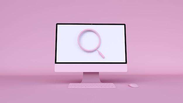 Illustrazione 3d del computer rosa con ricerca di icone