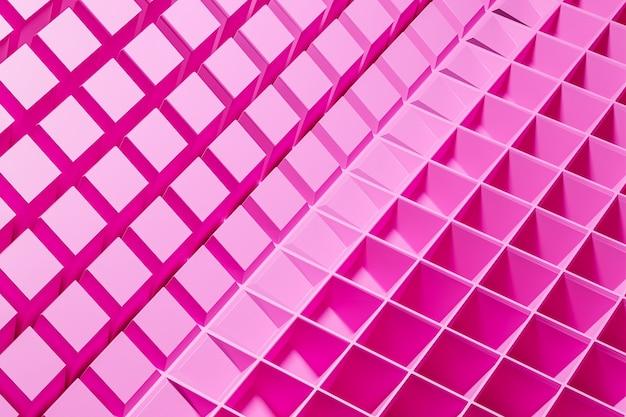 Modello rosa illustrazione 3d, cella in stile ornamentale geometrico da strisce.
