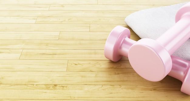 Illustrazione 3d penna e asciugamano. attrezzature per il fitness concetto di vita sana.