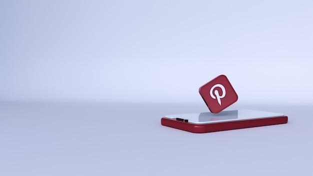 Un'illustrazione 3d di pinterest al telefono