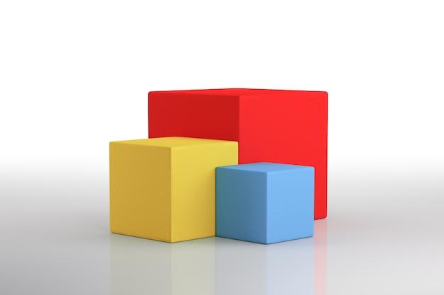 Podio dell'illustrazione 3d nel cubo multiplo. rendering 3d