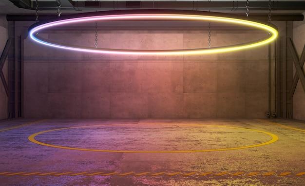 Illustrazione 3d. podio o anello sportivo in una vecchia fabbrica. luce al neon. concetto, scena