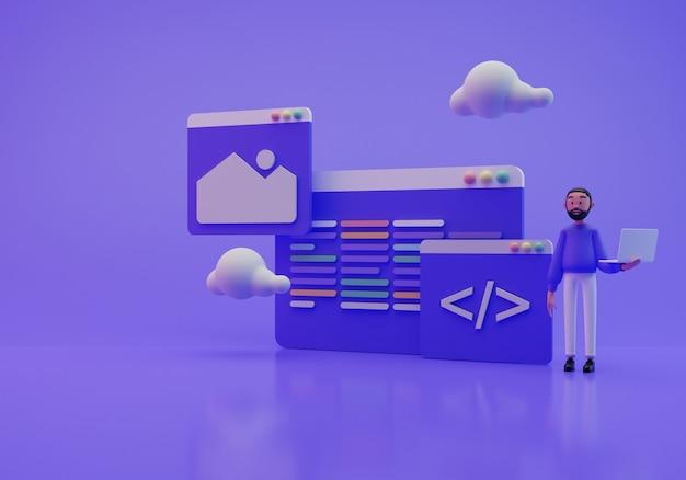 Illustrazione 3d di un programmatore e del suo lavoro sullo schermo