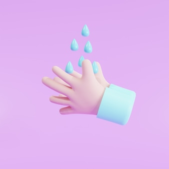 Illustrazione 3d, protezione. igienizzante, antisettico, simboli antibatterici. sanità lavarsi le mani con acqua di risciacquo e sapone