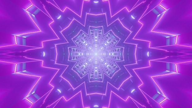Illustrazione 3d di linee al neon viola incandescente e formando ornamento astratto nel tunnel viola