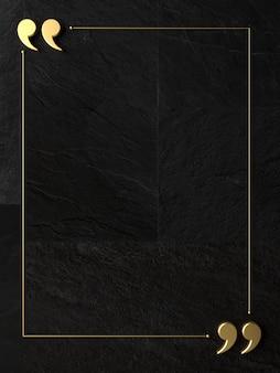 Illustrazione 3d. virgolette su un muro di pietra scura.