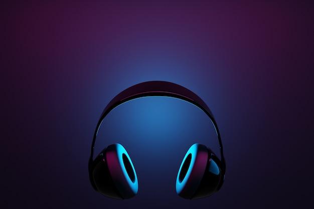 Cuffie senza fili nere realistiche dell'illustrazione 3d isolate su fondo nero sotto la luce al neon rosa e blu.