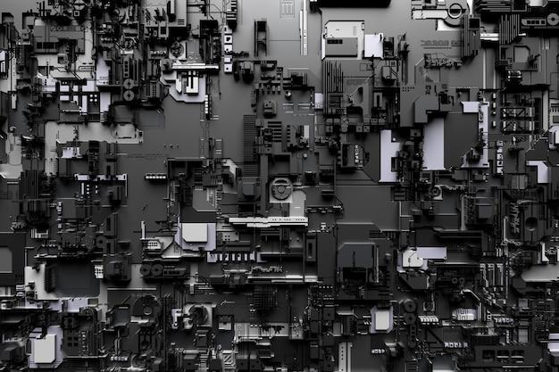 Illustrazione 3d di un modello realistico di un robot o di un'armatura cibernetica nera e grigia. attrezzatura ravvicinata per l'estrazione di criptovalute; etere. schede video; schede madri