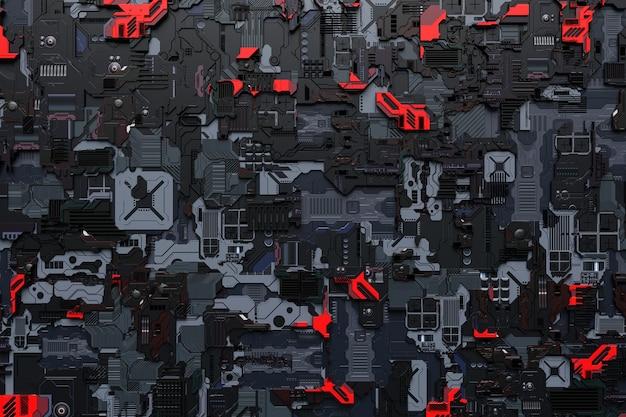 Illustrazione 3d di un modello realistico di un robot o di un'armatura cibernetica nera e rossa. attrezzatura ravvicinata per l'estrazione di criptovalute; etere. schede video; schede madri
