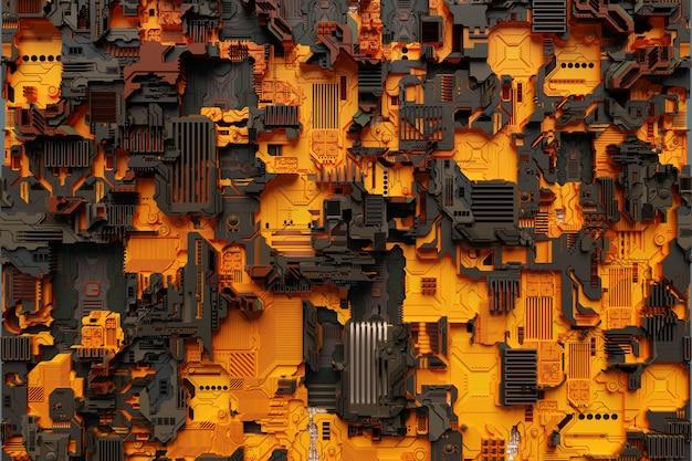 Illustrazione 3d di un modello realistico di un robot o di un'armatura cibernetica arancione. attrezzatura ravvicinata per l'estrazione di criptovalute; etere. schede video; schede madri