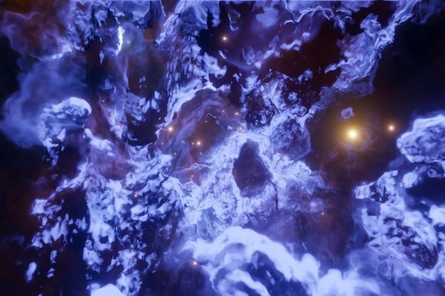 Illustrazione 3d di un cielo cosmico viola realistico con stelle un mare in tempesta con schiuma e onde enormi