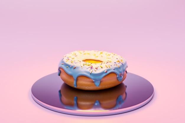 Illustrazione 3d di ciambella appetitosa bianca realistica con spruzza sulla piastra su sfondo rosa.