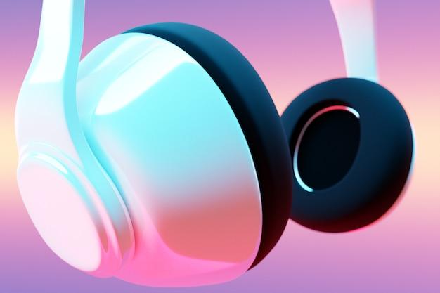 Cuffie senza fili bianche realistiche dell'illustrazione 3d isolate su fondo bianco sotto la luce al neon rosa e blu.