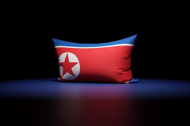 3d illustrazione del cuscino rettangolare raffigurante la bandiera nazionale della corea del nord