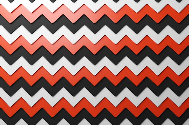 Illustrazione 3d del motivo geometrico rosso, bianco e nero da un motivo stampa decorativa, motivo.