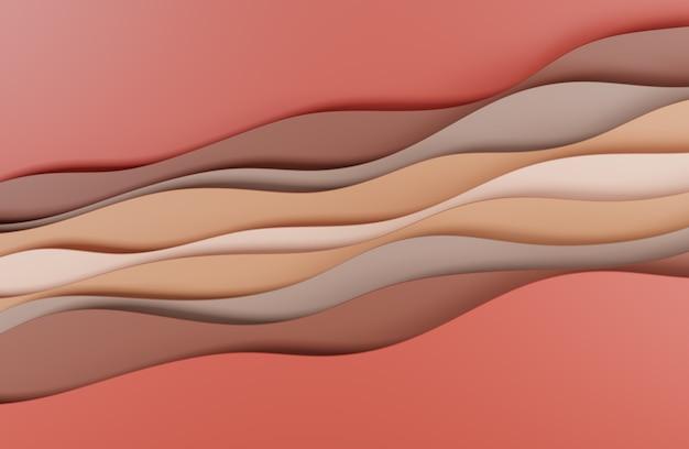 Illustrazione 3d design in stile arte astratta marrone rosso per sfondi di siti web o pubblicità