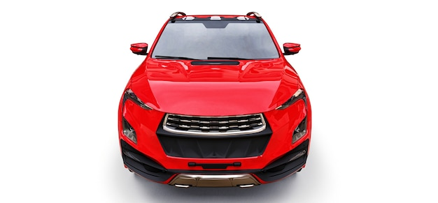 3d illustrazione del concetto rosso cargo pickup truck bianco su sfondo isolato. rendering 3d.
