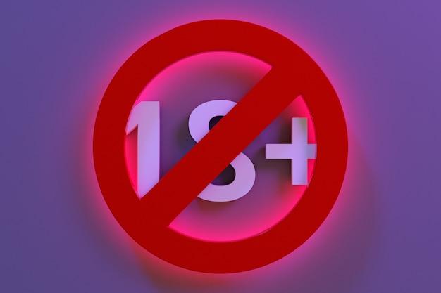Illustrazione 3d di un segno di restrizione di età di 18 anni incandescente rosso su uno sfondo viola. sotto i 18 anni è vietato il segno. numero diciotto in un cerchio rosso attraversato da una linea. segno di limitazione di età