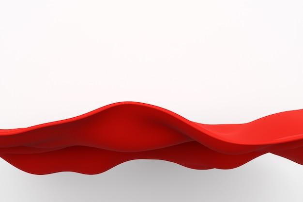 Illustrazione 3d delle linee di colore d'ardore rosse. linea di stoffa rossa su sfondo nero isolato