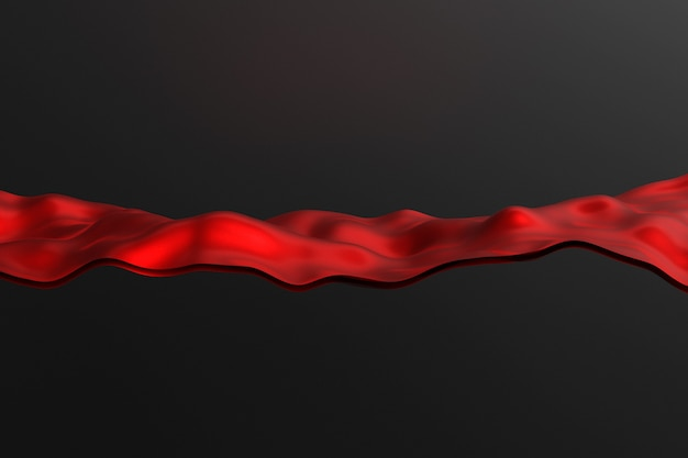 Illustrazione 3d di linee di colore rosso incandescente