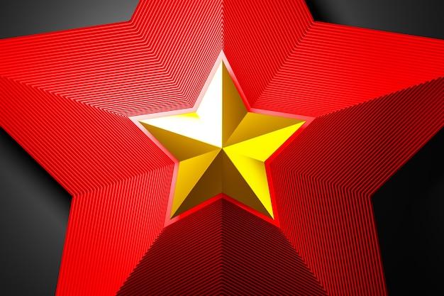 Illustrazione 3d una stella decorativa rossa e dorata su sfondo chiaro.