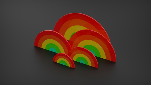 Illustrazione 3d rendering arcobaleni, orgoglio, stampa lgbtq