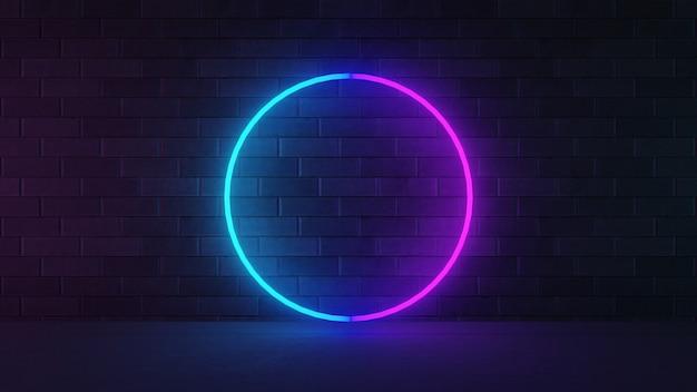 Rendering dell'illustrazione 3d. forma di cerchio di luce al neon rosa blu con muro di mattoni scuri.