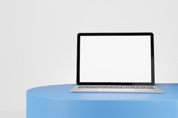 Oggetto di rendering dell'illustrazione 3d. computer portatile argento e schermo vuoto di colore nero su sfondo bianco scrivania blu.