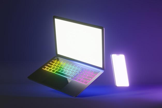 Oggetto di rendering dell'illustrazione 3d. colore argento e nero del computer portatile con lo schermo in bianco mobile dello smartphone nel fondo di colore chiaro rosa blu.