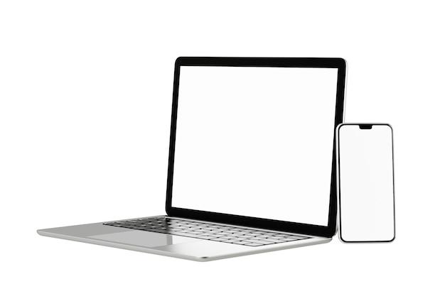 Oggetto di rendering dell'illustrazione 3d. colore argento e nero del computer portatile con lo schermo in bianco mobile dello smartphone isolato sfondo bianco. immagine del tracciato di ritaglio.