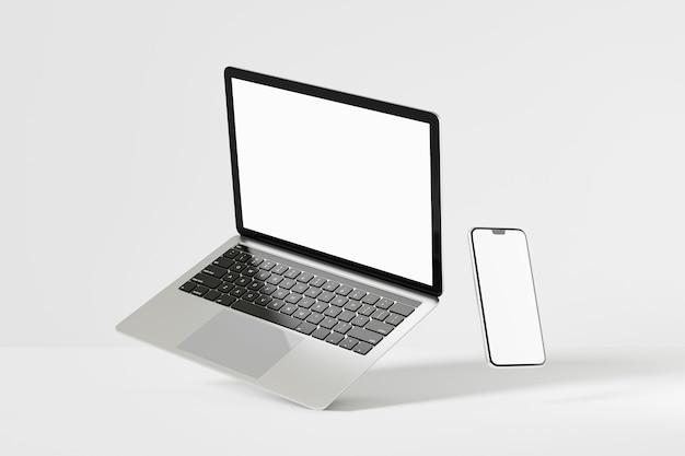 Oggetto di rendering dell'illustrazione 3d. colore argento e nero del computer portatile con lo schermo in bianco mobile dello smartphone